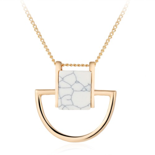 Halsband - White Marble Pendant - Marmor