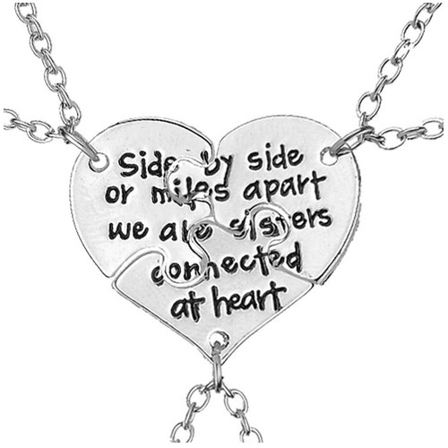 Side By Side Or Miles Apart We Are Sisters Connected At Heart halsband 3 st