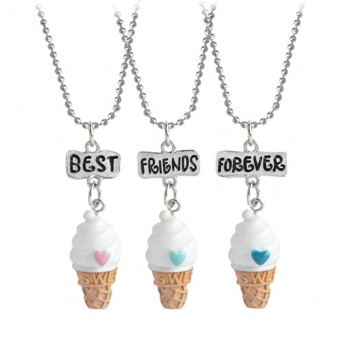 3pcs best friends forever BFF ice cream necklace Children sisters heart chain friendship jewelry gift