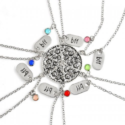 Best Friends Halsband 6 Color Inlaid Crystal BFF Pendant 6 pcsset Pizza slice