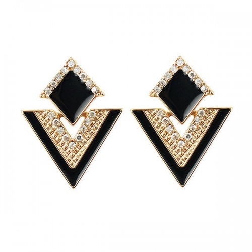 Rhinestone Party Earring - Black and Gold