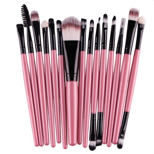 15 st. professionella Make-up / sminkborstar - Rosa