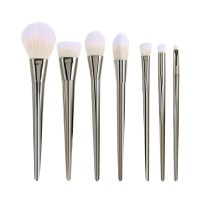 Silver 7 pack professionella sminkborstar real brushes metal