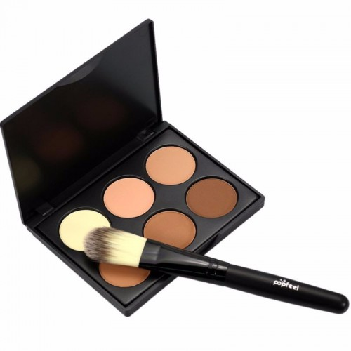 Contour, Highlight Powder Kit, 6 färger - Med en borste