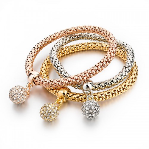 Trio Armband - Rose,silver & Guld