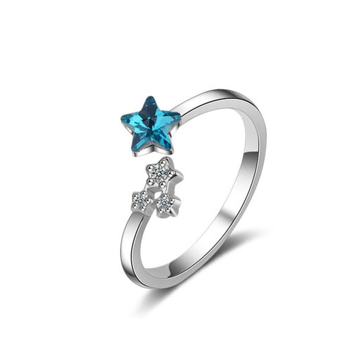 Ocean Blue Crystal Little Zirkon Star Ring -  925 sterling silver