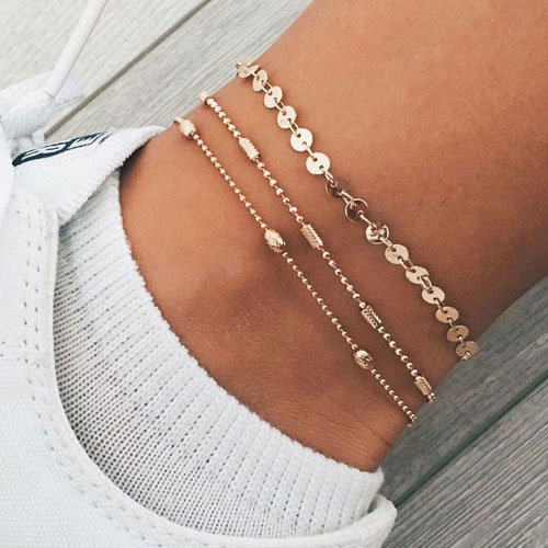 3 st / Set Simple Fashion Round Bead Chain Multilayer Gold Women Armband Set / Ankelkedjor