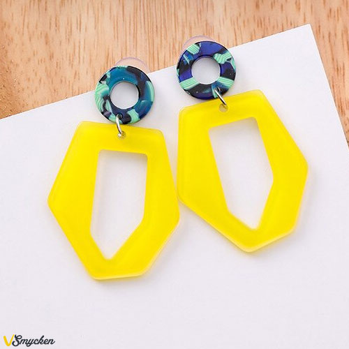 Yellow Contrast Irregular Trapezoidal Earrings - Örhängen