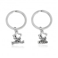 2 stylish i love my husband / wife letters love , best couple forever keychain