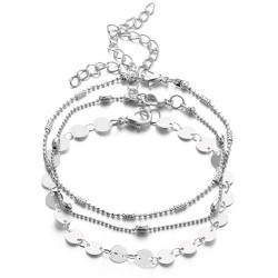 3 st / Set Simple Fashion Round Bead Chain Multilayer silver Women Armband Set